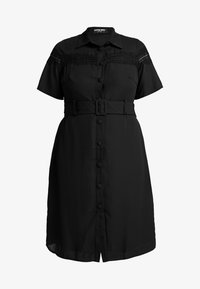 Fashion Union Plus - MIDI DRESS WITH INSERT AND BELT DETAIL - Robe chemise - black - 5