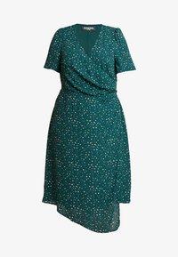 Fashion Union Plus - JUICE WRAP FRONT DRESS - Day dress - green galaxy - 4