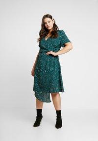 Fashion Union Plus - JUICE WRAP FRONT DRESS - Day dress - green galaxy - 1