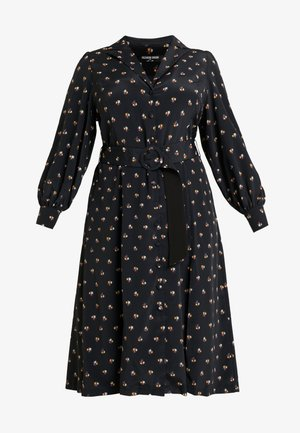 PRINTED BUTTON THROUGH DRESS - Vestido camisero - black