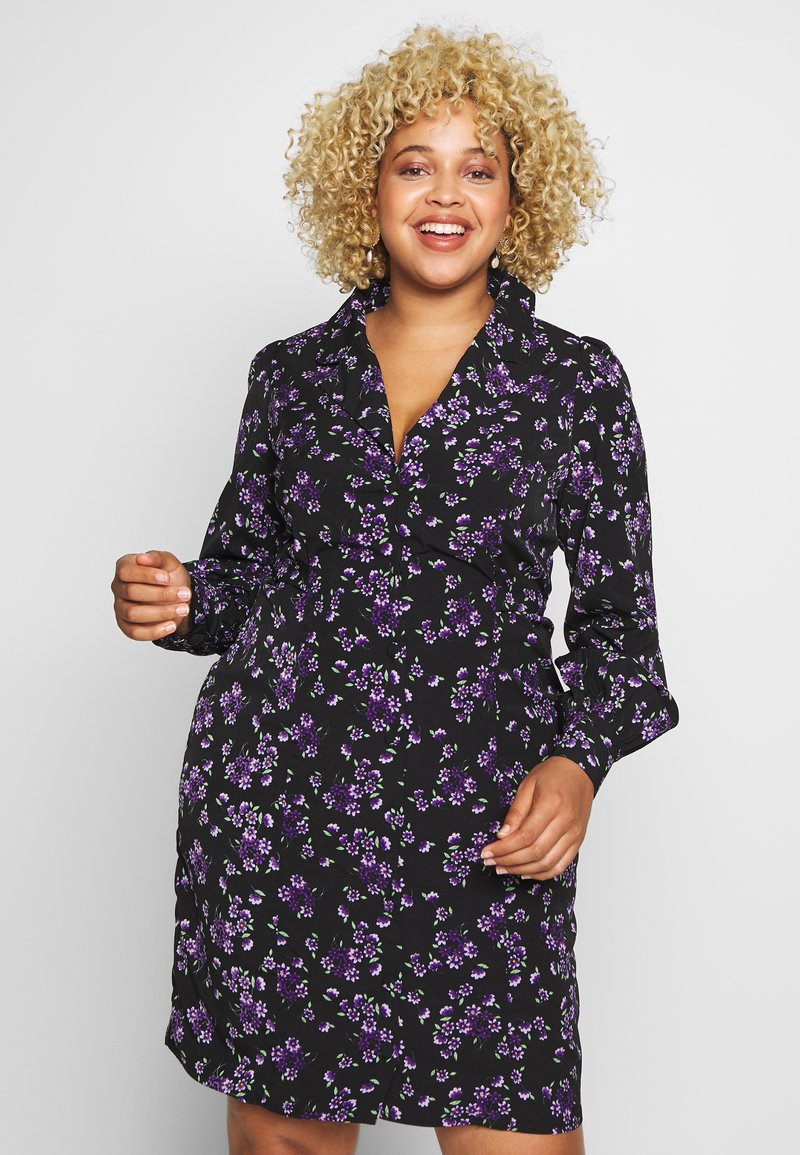Fashion Union Plus - FLORAL BUTTON THROUGH DRESS WITH WAIST TIE - Vapaa-ajan mekko - black base purple floral