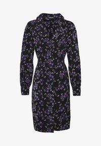 Fashion Union Plus - FLORAL BUTTON THROUGH DRESS WITH WAIST TIE - Vapaa-ajan mekko - black base purple floral - 4