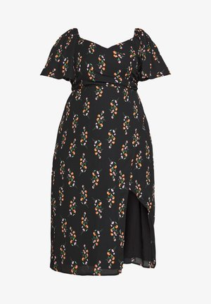 FLORAL WRAP FRONT MIDI DRESS - Robe d'été - black