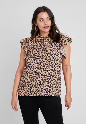 PUSSY BOW NECK BLOUSE WITH RUFFLED SLEEVE - Bluzka - brown