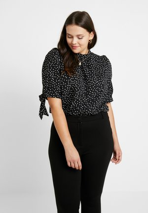 HIGH NECK BLOUSE WITH SLEEVE TIES - Bluzka - black