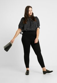 Fashion Union Plus - HIGH NECK BLOUSE WITH SLEEVE TIES - Bluser - black - 1