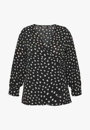 WRAP TOP - Blouse - black/white