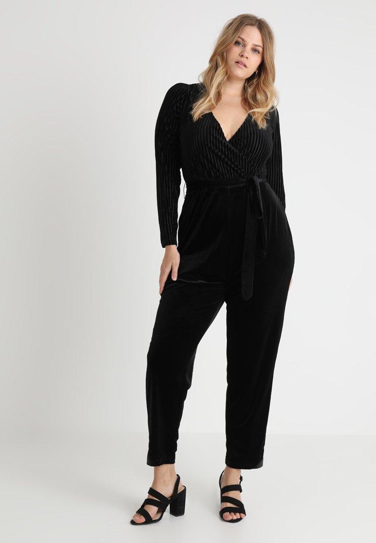 Fashion Union Plus - CRISPINA FLOCK STRIPE BELTED - Jumpsuit - black