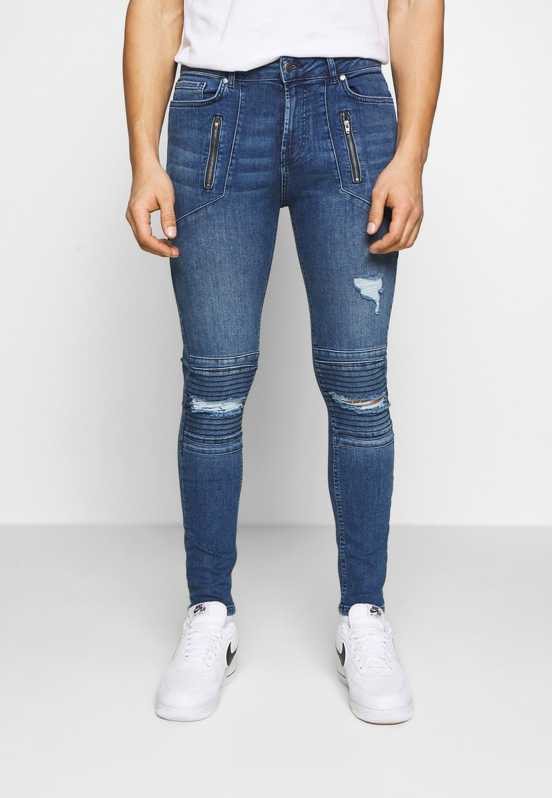 FAKTOR - AMIAS BIKER - Jeans Skinny Fit - blue wash