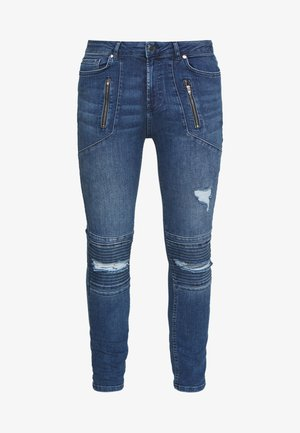AMIAS BIKER - Jeansy Skinny Fit - blue wash