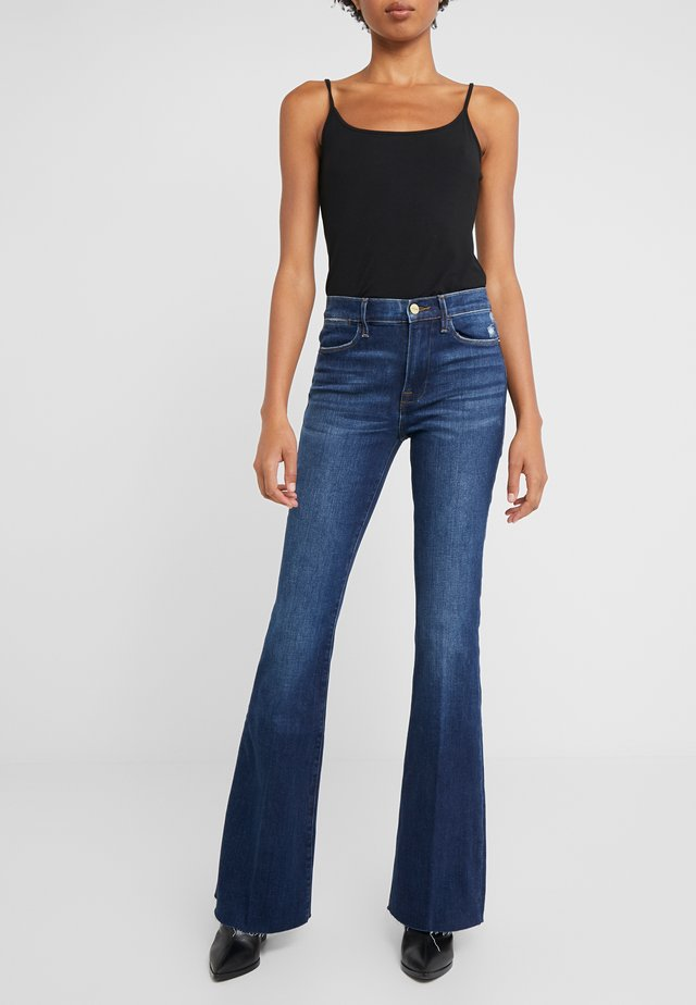 HIGH FLARE RAW EDGE - Široké džíny - blue denim