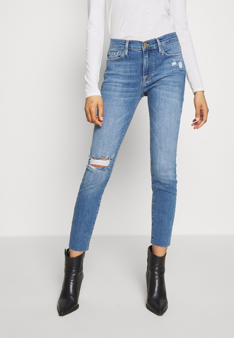 Frame Denim - DE JEANNE CROP RAW EDGE - Jeans Skinny Fit - blue denim