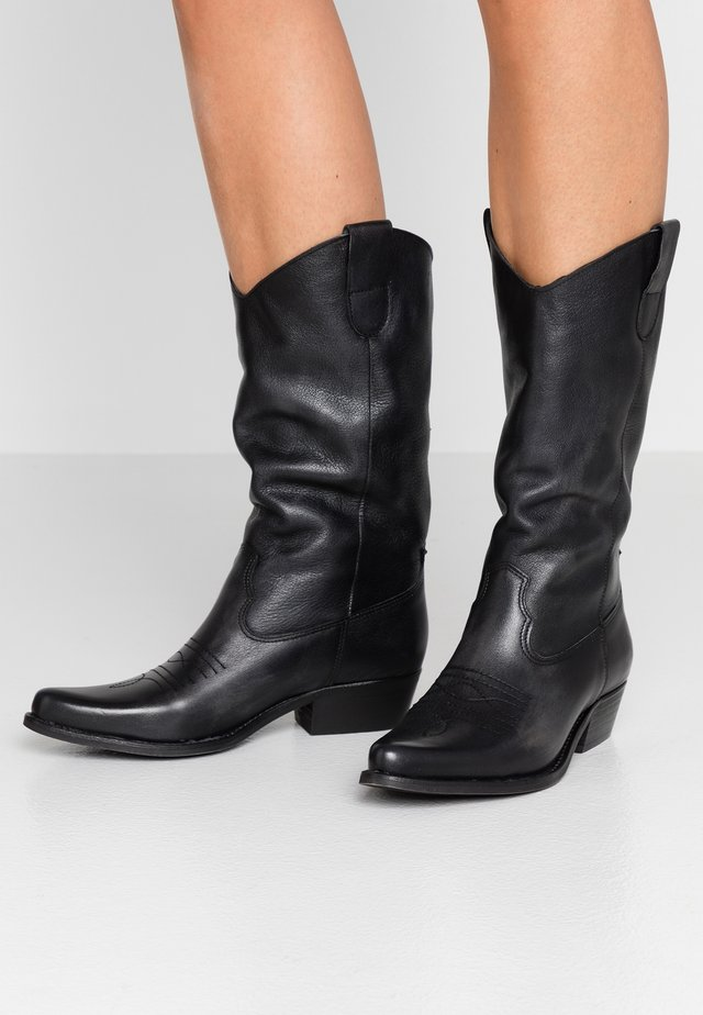 GERBERA - Cowboy- / bikerstøvler - lavado black