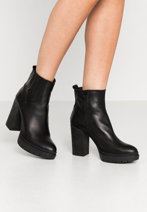 JANICE - High heeled ankle boots - mate balck