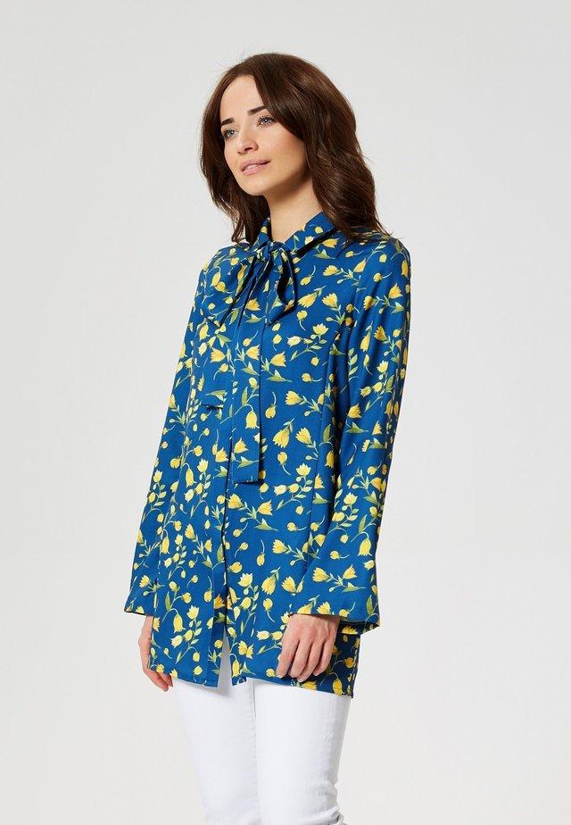 Button-down blouse - gelbe tulpen