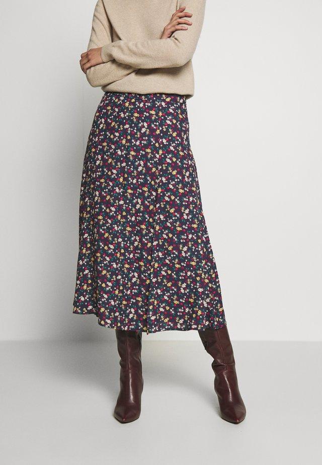 FALDA MIDI MACRO FLOR - A-line skirt - blue