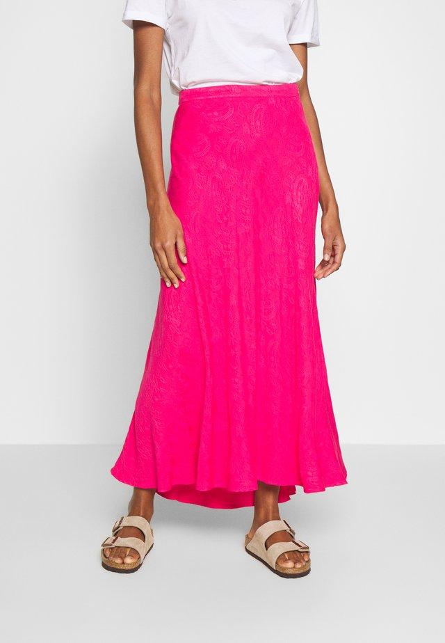 FALDA MIDI LISO SATI - Maxi skirt - pink