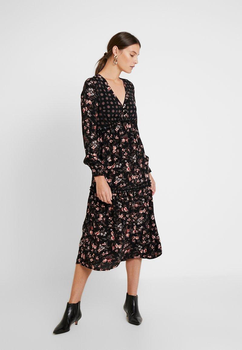 Springfield - VESTIDO MIDI MIX - Shirt dress - black