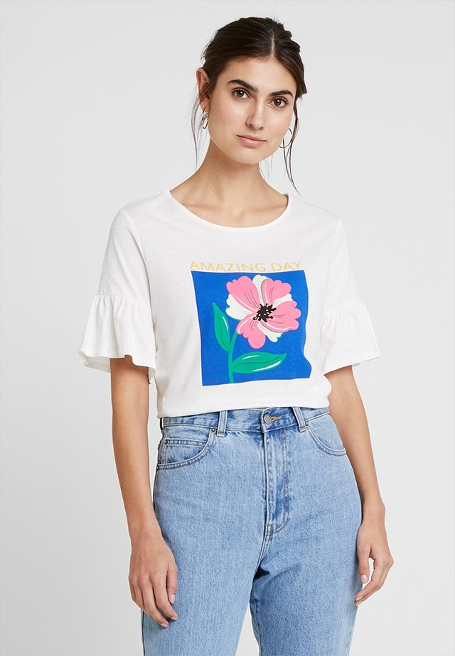 GRAF FLOR-HOJAS MANG - T-shirt print - white