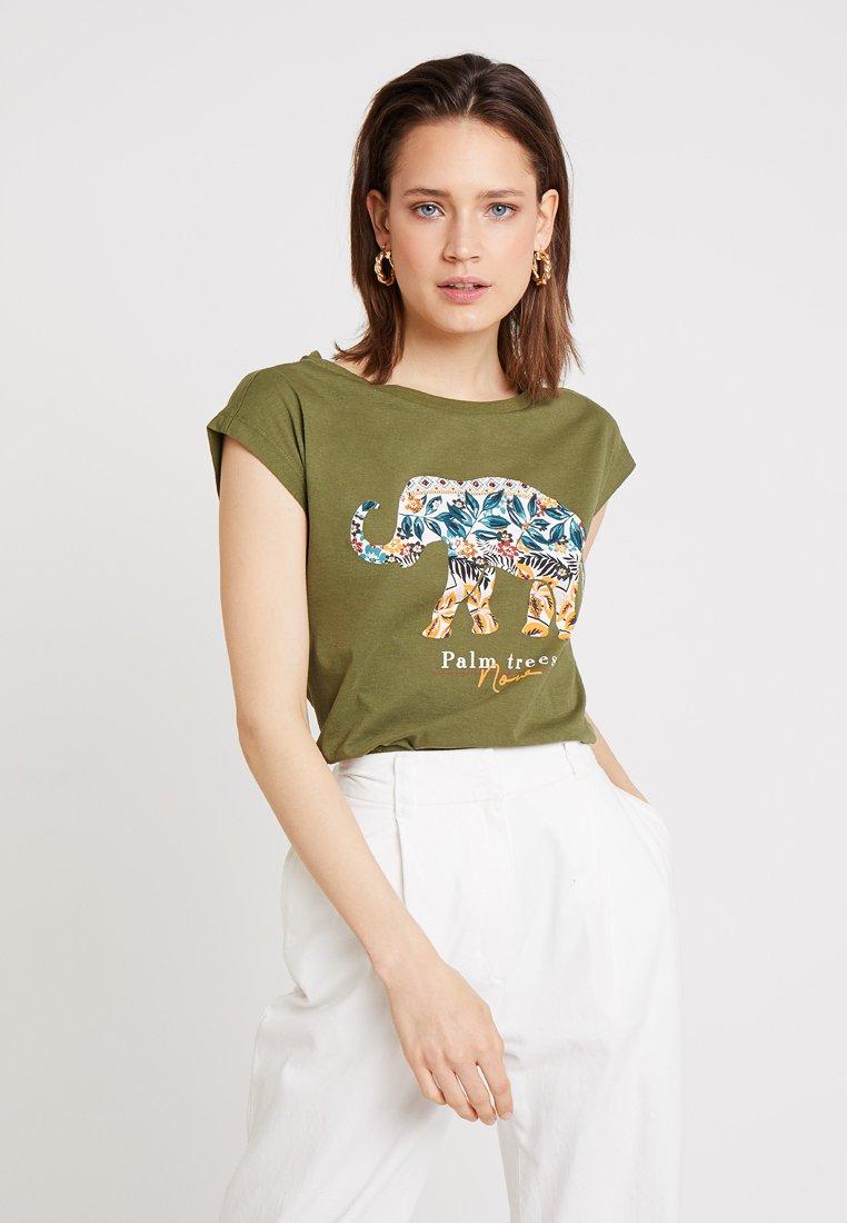 Springfield - GRAF ELEFANTE - Print T-shirt - khaki