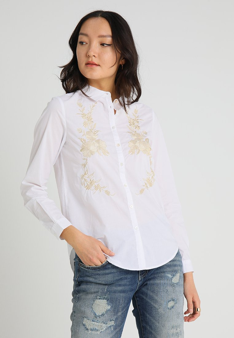 Springfield - CAMISA BORDADO - Button-down blouse - white