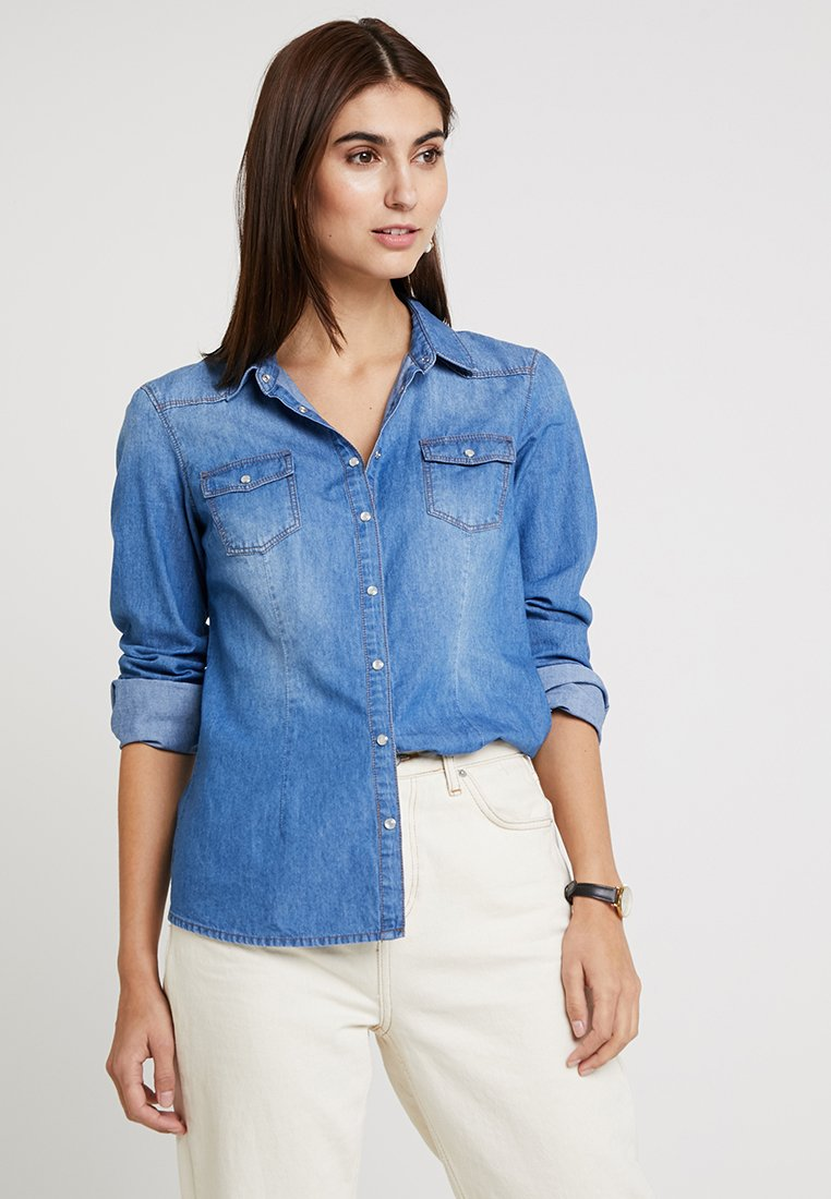 Springfield - CAMISA BÁSICA - Button-down blouse - blue denim