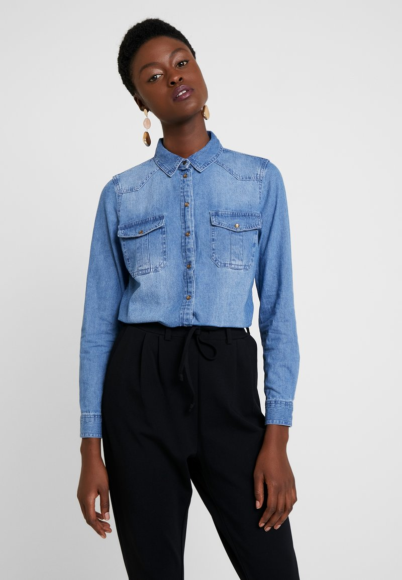 Springfield - CAMISA SLUB - Button-down blouse - blues