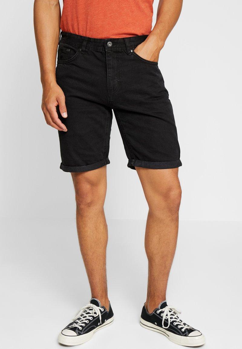 Springfield - BERM BASIC - Denim shorts - black