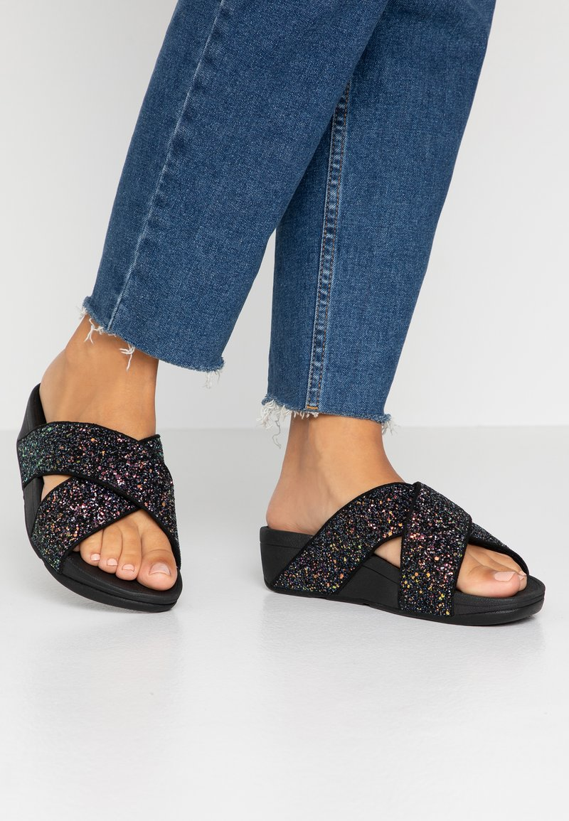 FitFlop - LULU GLITTER - Pantofle - all black