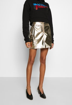 ZIP MINI SKIRT VINYL  - Mini skirt - gold