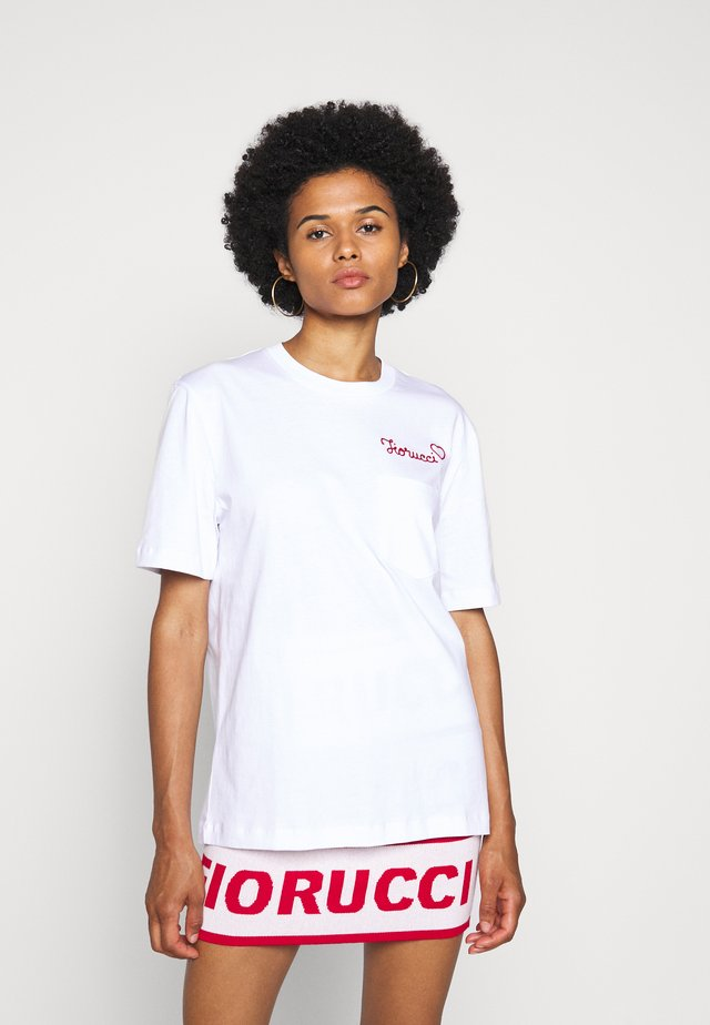 EMBROIDERED LOGO TEE - Print T-shirt - white