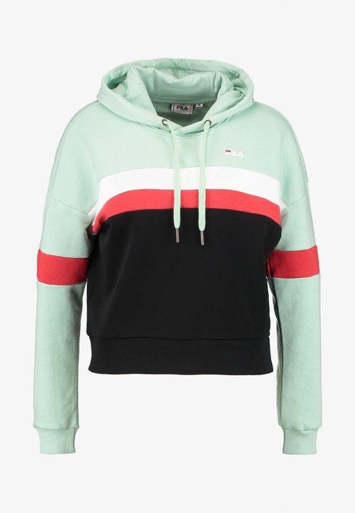 70% ZNIŻKI Fila Petite ELLA HOODY - Bluza z kapturem - mist green/black/bright white/true red Odzież Damska WZJW-CZ6