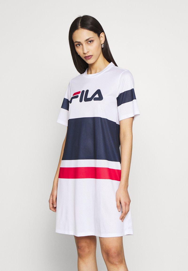 Fila Tall - BASANTI TEE DRESS - Day dress - bright white/black iris/true red