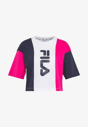 CROPPED TEE - T-shirts med print - pink yarrow/black iris/bright white