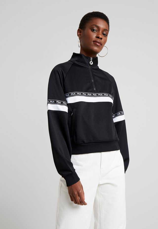 CHINAMI HALF ZIP - Sweater - black/bright white