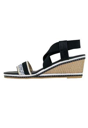 LIKA - Sandály na klínu - schwarz