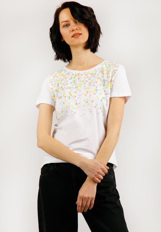 MIT MEHRFARBIGEM FRONTDRUCK - T-shirt imprimé - white