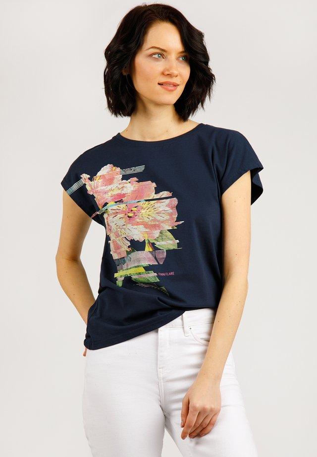 MIT BLUMENPRINT  - T-shirt imprimé - cosmic blue