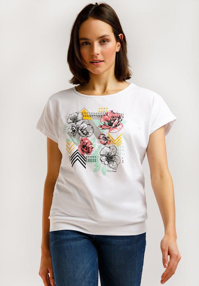 MIT FARBIGEM FRONT-DRUCK - T-shirt imprimé - white