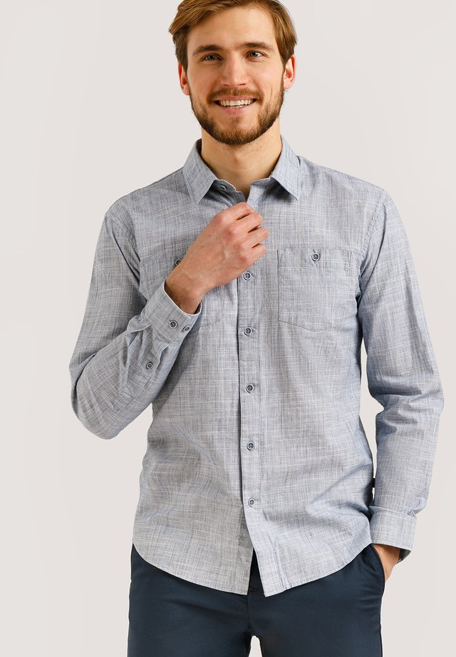FINN FLARE LANGARMHEMD IN MELIERTER OPTIK - Shirt - blue/grey