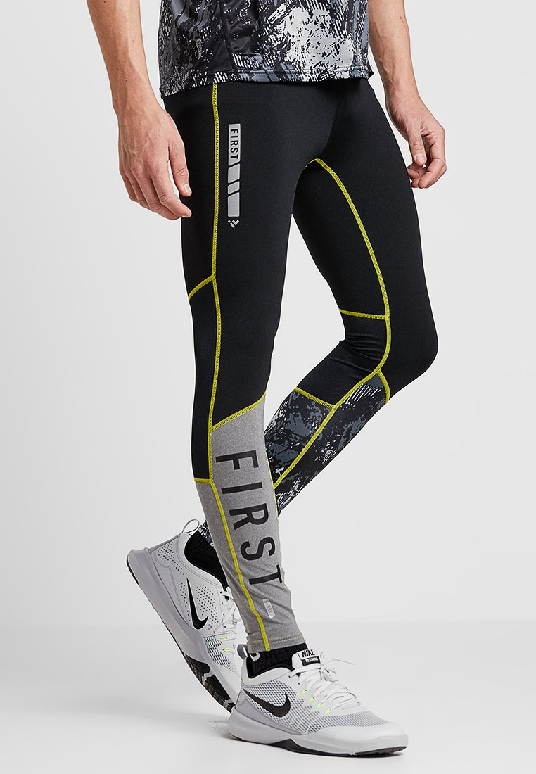 FIRST - FRSASK TRAINING  - Legginsy - black/blazing yellow