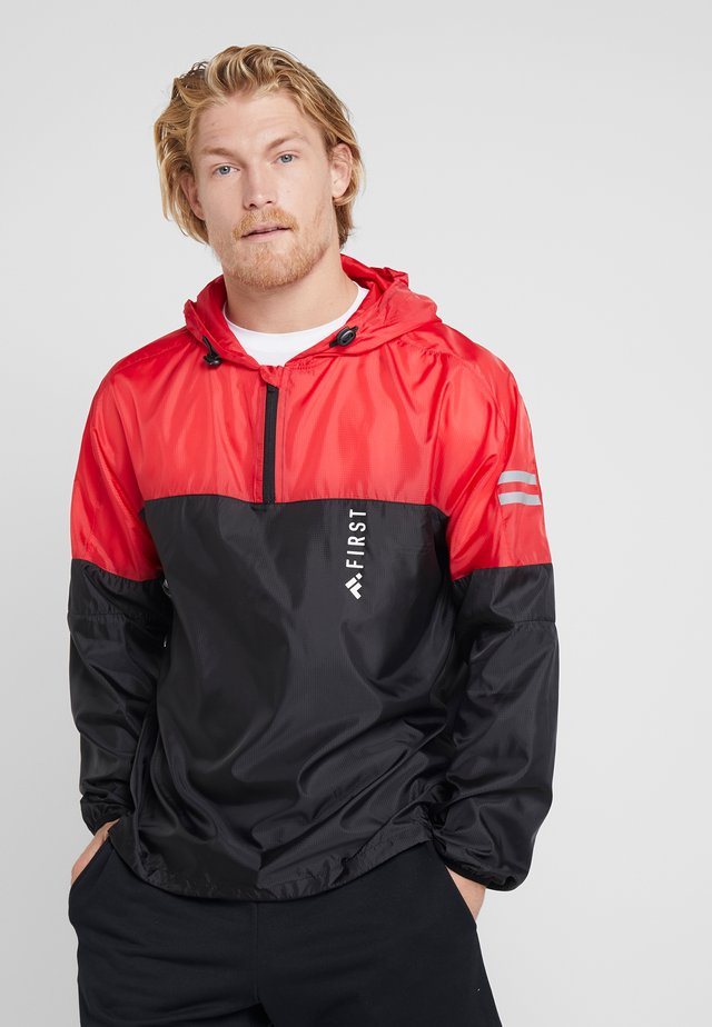 HALF ZIP HOOD - Training jacket - black/tomato