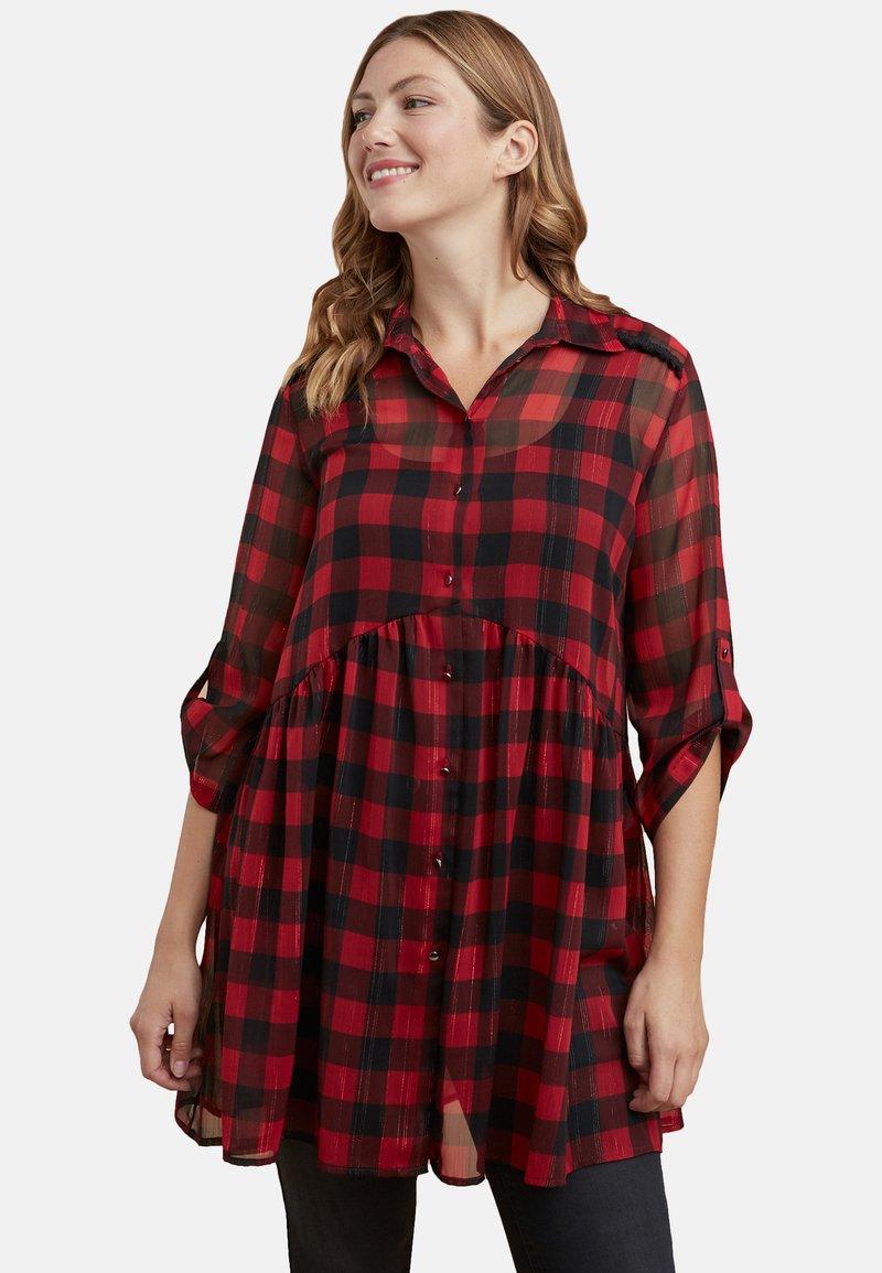 Fiorella Rubino - MIT CHECKS-DRUCK - Vestido camisero - red