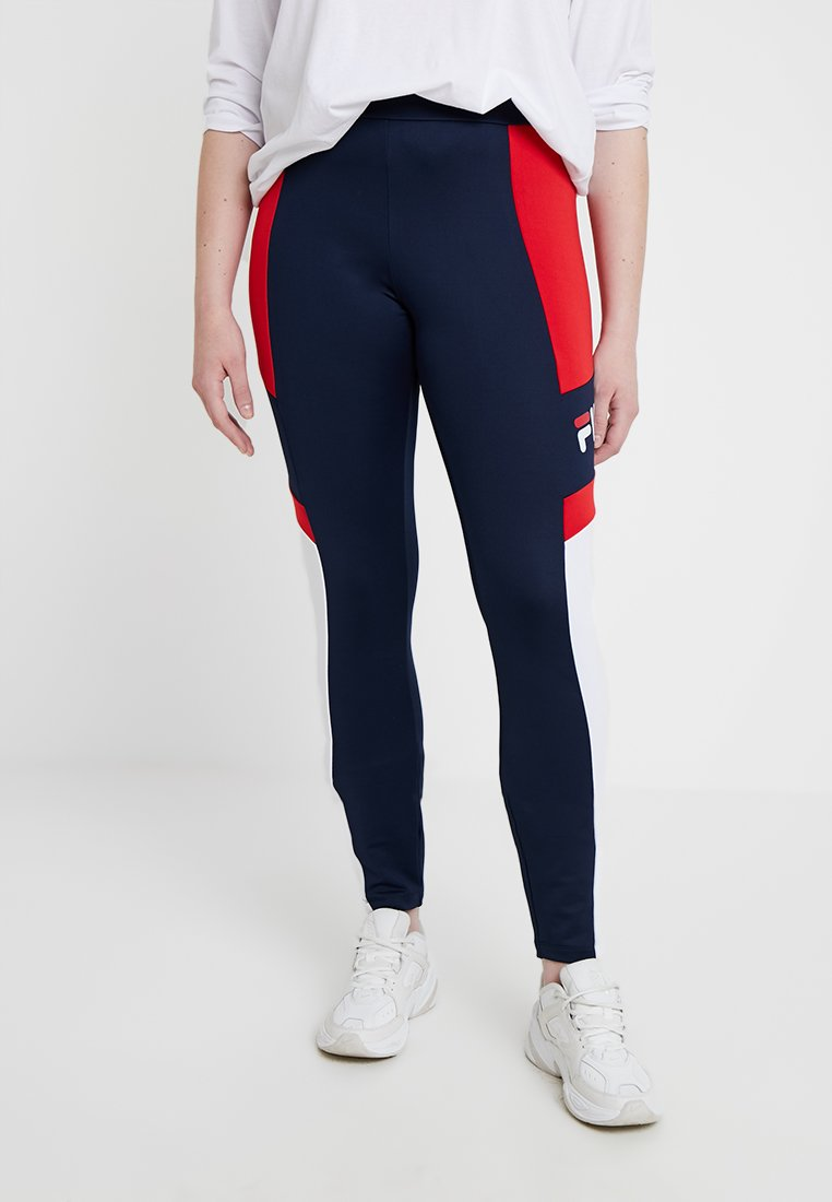 Fila Plus - MARTHA - Leggings - Trousers - black iris/bright white/true red