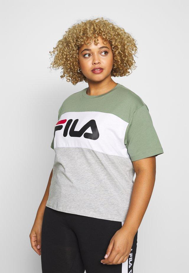 ALLISON TEE - Print T-shirt - sea spray/light grey melange/bright white