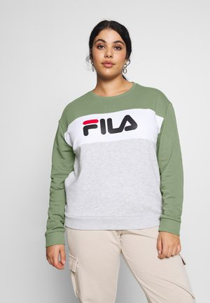 LEAH CREW - Sweatshirt - sea spray/light grey melange/bright white