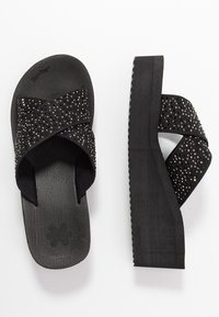 flip*flop - WEDGE CROSS CRYSTAL - Korolliset pistokkaat - black - 3