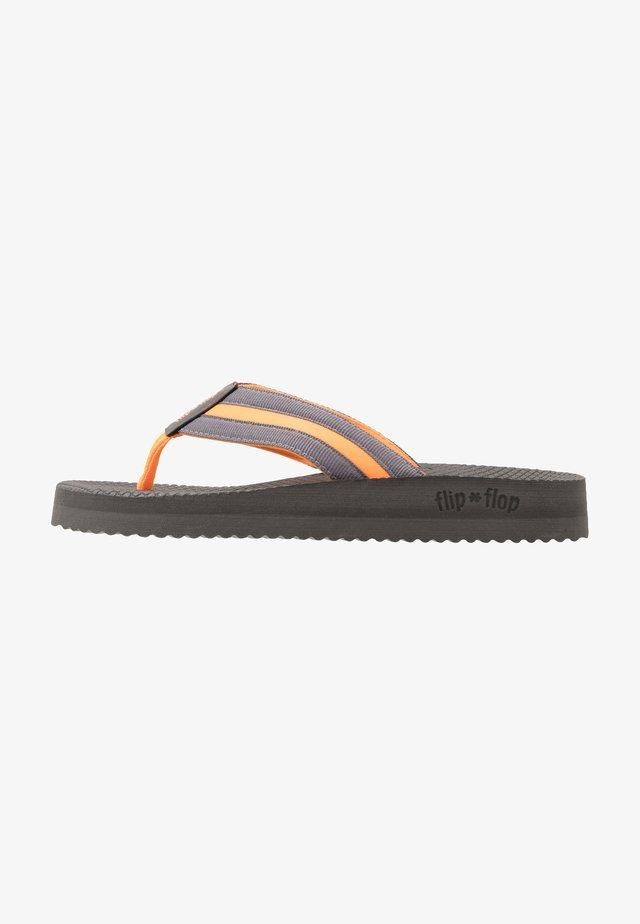 TEX COMFY - T-bar sandals - steel/neon orange