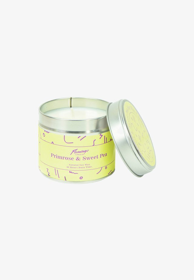 TIN CANDLE - Duftkerze - primrose & sweet pea yellow squiggle