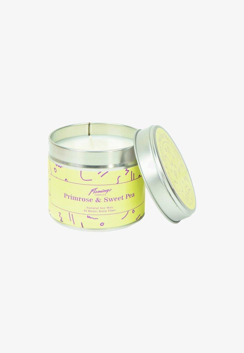 Flamingo Candles - TIN CANDLE - Duftlys - primrose & sweet pea yellow squiggle